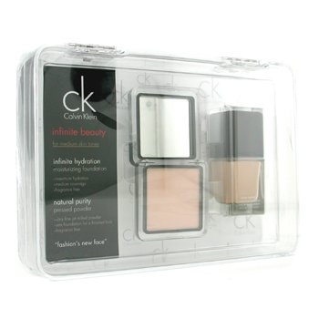 Calvin Klein-Infinite Beauty Set - For Medium Skin Tones ( Foundation # 101, Pressed Powder # 103 )