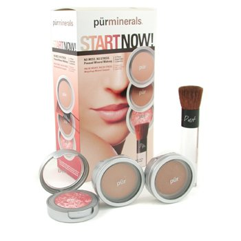 PurMinerals-Start Now 4 Piece Essentials Collection - Blush Medium ( Pressed Powder + Mineral Glow + Marble Powder + Brush )
