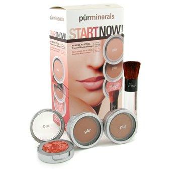 PurMinerals-Start Now 4 Piece Essentials Collection - Deep ( Pressed Powder + Mineral Glow + Marble Powder + Brush )