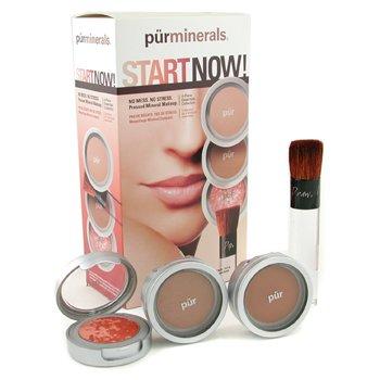 PurMinerals-Start Now 4 Piece Essentials Collection - Deeper ( Pressed Powder + Mineral Glow + Marble Powder + Brush )