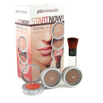 PurMinerals-Start Now 4 Piece Essentials Collection - Deepest ( Pressed Powder + Mineral Glow + Marble Powder + Brush )