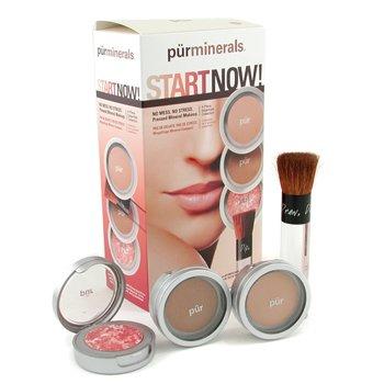 PurMinerals-Start Now 4 Piece Essentials Collection - Golden Medium ( Pressed Powder + Mineral Glow + Marble Powder + Brush )