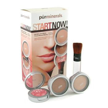 PurMinerals-Start Now 4 Piece Essentials Collection - Light ( Pressed Powder + Mineral Glow + Marble Powder + Brush )