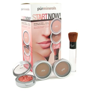 PurMinerals-Start Now 4 Piece Essentials Collection - Medium Dark ( Pressed Powder + Mineral Glow + Marble Powder + Brush )