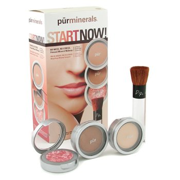 PurMinerals-Start Now 4 Piece Essentials Collection - Procelain ( Pressed Powder + Mineral Glow + Marble Powder + Brush )