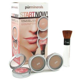 PurMinerals-Start Now 4 Piece Essentials Collection - Tan ( Pressed Powder + Mineral Glow + Marble Powder + Brush )