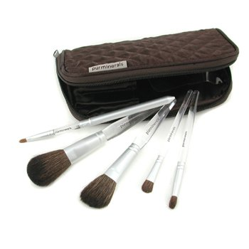PurMinerals-5 Piece Lucite Brush Collection ( Powder, Blush, Utility, Eye Shadow, Lip )