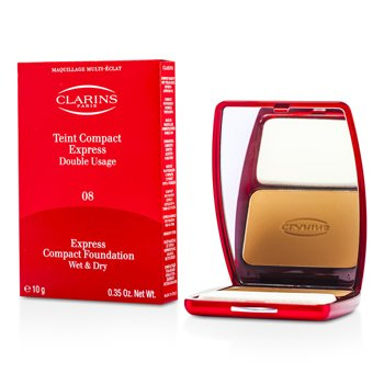 ClarinsExpress Compact Foundation Wet/ Dry - # 08 Cinnamon Beige (Unboxed) 10g/0.35oz