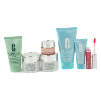 Clinique-Travel Set: 7 Day Scrub + Day Cream + Night Cream + Eye Cream + Turnaround + Body Cream + Lip Gloss