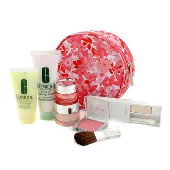 Clinique-Travel Set: Rinse Off Cleanser + DDMG + Moisture Surge + All About Eye Rich + Blush + Eyeshadow + Bag