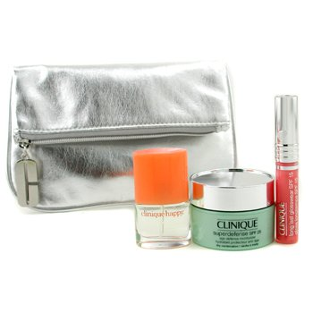 Clinique-Travel Set: Happy Parfum Miniature + Superdefense + Long Last Glosswear + Bag