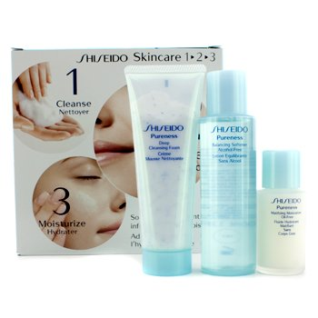 ShiseidoPureness Kit: Cleasing Foam 75ml/2.7oz + Softener 100ml/3.3oz + Moisturizer 30ml/1oz 3pcs