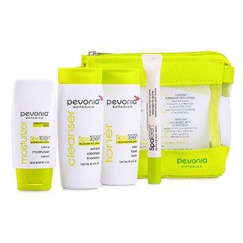 Pevonia BotanicaSpaTeen Blemished Skin Kit: Cleanser + Toner + Moisturizer + Blemish-B-Gone + Bag 4pcs+1bag
