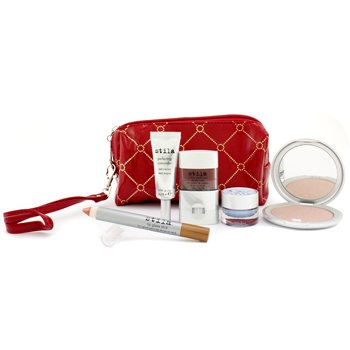 Stila MakeUp Set with Red Bag: Face Powder + Concealer + Eye Mousse + Lip Glaze Stick + Blush +Bag  5pcs+1bag