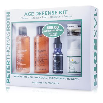 Peter Thomas RothAge Defense Kit: Cleansing Gel + Buffing Beads + Retinol Fusion + Defense Lotion + Cellular Creme 5pcs
