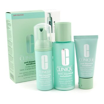 CliniqueAnti-Blemish Solutions 3-Step System: Cleansing Foam + Clarifying Lotion + Moisturizer 3pcs
