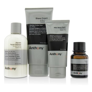 Anthony Logistics For Men The Perfect Shave Kit: Cleanser + Pre-Shave Oil + Shave Cream + After Shave Cream + Bag 4pcs+1bag