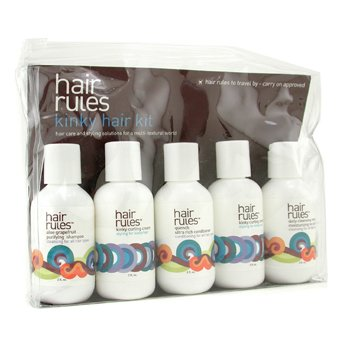Hair Rules Kinky Hair Travel Kit: Moisturizing No Suds Shampoo + Purifying Shampoo + Conditioner + Cream + Finishing Cream 6pcs