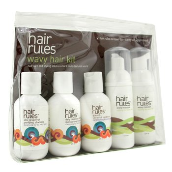 Hair Rules Wavy Hair Travel Kit: Moisturizing No Suds Shampoo + Purifying Shampoo + Conditioner + Mousse + Finishing Cream 6pcs