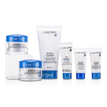 LancomeBlanc Expert Bộ Du Lịch: Bọt Rửa Mặt + Kem Dưỡng Ẩm +Kem Đ�m+ Huyết Thanh Mắt + X�a Mờ Chấm Đen+ Kem Chống Nắng UV Expert 6pcs