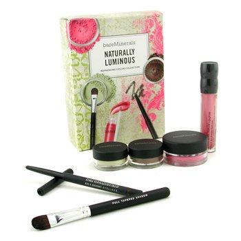 MakeUp SetBareMinerals Naturally Luminous Refreshing Color Collection (Blush + 2x EyeColor + Eyeliner + Lipgloss + Shadow Brush) 6pcs