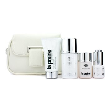 La Prairie Swiss Cellular White Travel Essential Kit: Day Emulsion + Cleanser + Lotion + Eye Essence  4pcs+1bag