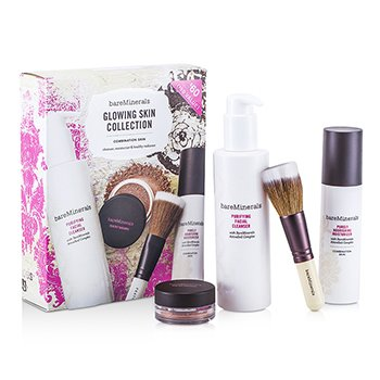BARE ESCENTUALS BareMinerals Glowing Skin Collection: Cleanser + Moisturizer + Face Color + Brush 4pcs