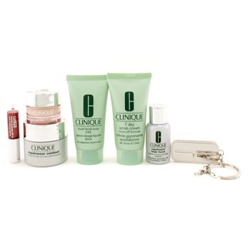 Clinique Travel Set: Scrub Cream + Liquid Facial Soap + Repairwear  Contour + Laser Focus + All About Eyes + Glosswear + Key Chain  7pcs