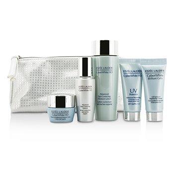 Estee LauderCyberWhite Brilliant Cells Travel Set: Cleanser + UV Protector + Essence + Moisture Lotion + Moisture Creme 5pcs