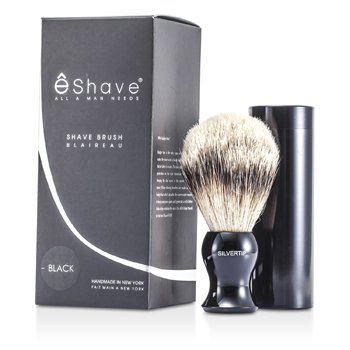 EShaveTravel Brush Silvertip With Canister - Black 1pc