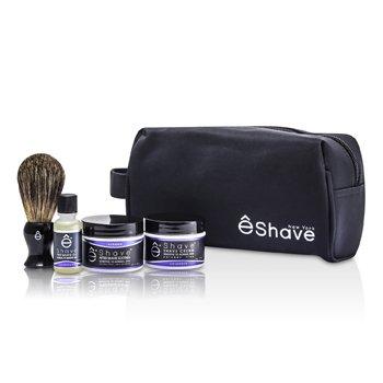 EShave Lavender Start Up Kit: Pre Shave Oil + Shave Cream + After Shave Soother + Brush + Bag  4pcs+1bag