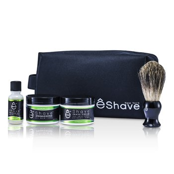 EShaveVerbena Lime Start Up Kit: Pre Shave Oil + Shave Cream + After Shave Soother + Brush + Bag 4pcs+1bag