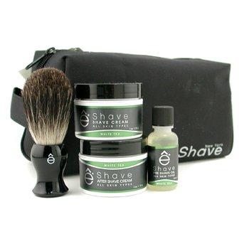 EShaveWhite Tea Start Up Kit: Pre Shave Oil + Shave Cream + After Shave Cream + Brush + Bag 4pcs+1bag