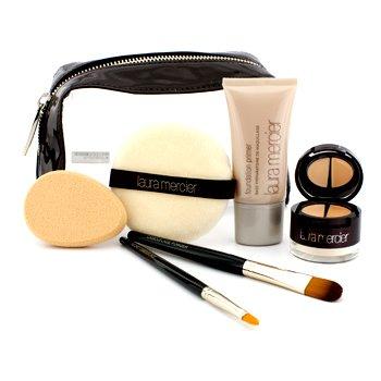 Laura MercierSet de Maquillaje Perfeccionador - #No.3 Corrector debajo Maquillaje 3+ Base de Maquillaje Primer 30ml+ 2x Brocha+ Puff+ Esponja+ Neceser ( Sin Embalaje ) 6pcs+1bag