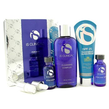 IS Clinical For Men Kit System: Cleansing Complex + Active Serum + Hydra-Cool Serum + Treatment Sunscreen 4pcs