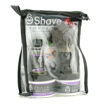 EShaveLavender Travel Kit: Pre Shave Oil + Shave Cream + After Shave Soother + Brush + TSA Bag 4pcs+1bag