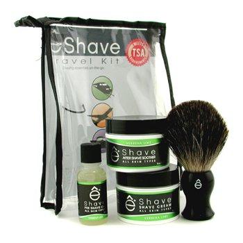EShave Set Viaje Verbena Lime : Aceite Pre-Afeitado + Crema Afeitado + Calmante After Shave + Brocha + TSA Neceser  4pcs+1bag