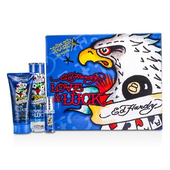 Christian Audigier ED Hardy Love & Luck Eagle Coffret: Edt Spray 50ml/1.7oz + Hair & Body Wash 90ml/3oz + Edt Spray 7.5ml/0.25oz  3pcs