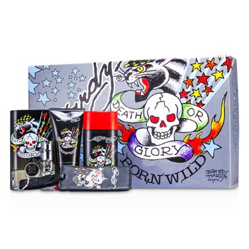 Christian Audigier ED Hardy Born Wild Coffret: Edt Spray 100ml/3.4oz + Hair & Body Wash 90ml/3oz + Deodorant 78g//2.75oz + Edt Spray 7.5ml/0.25oz + Luggage Tag  5pcs