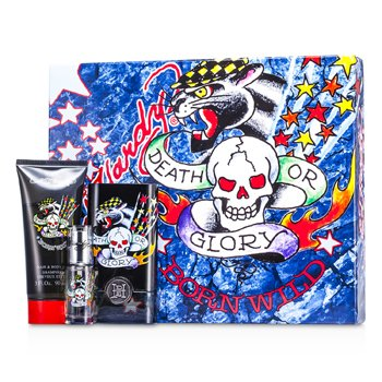 Christian Audigier Estuche ED Hardy Born Wild : A. Colonia Vap. 50ml/1.7oz + Gel Cabello y Cuerpo 90ml/3oz + A. Colonia Vap. 7.5ml/0.25oz  3pcs