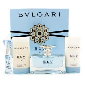 BvlgariEstuche Blv II: Eau De Parfum Spray 50ml/1.7oz + Loci�n Corporal 75ml/2.5oz + Gel de Ducha 75ml/2.5oz + Eau De Parfum Spray10ml/0.33oz 4pcs