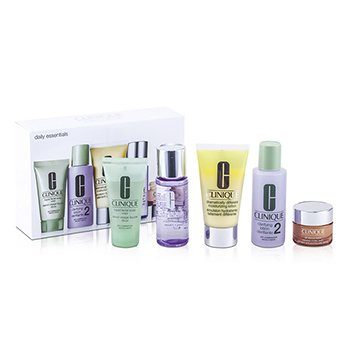 CliniqueDaily Essentials Set (Dry Combination Skin): Clarifying Lotion 2 + Makeup Remover + DDML + Facial Soap + Eyes  78C0 5pcs