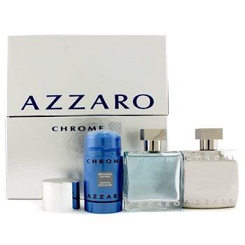 AzzaroEstuche Chrome: Eau De Toilette Spray 50ml/1.7oz + Loci�n Para Despu�s de Afeitar 50ml/1.7oz+ Desodorante en Barra 75ml/2.7oz 3pcs