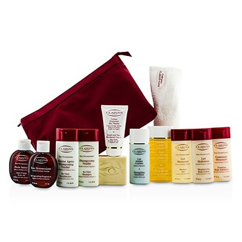 Clarins Eau Dynamisante Coffret: Body Fragrance+ Shower Concentrate+ Soap+ Shower Gel+ Shampoo+ Conditioner+ Body Lotion+ Body Exfoliator+ Body Oil+ Hand Cream+ Legs Emulsion+ Towel+ 2x Bag  12pcs+2bags