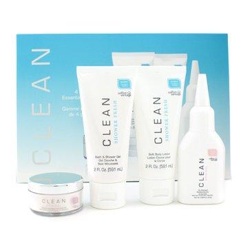 Clean Essential Collection: Dry Shampoo 27g/0.953oz+ Body Lotion 59.1ml/2oz+ Showel Gel 59.1ml/2oz+ Body Veil 14.4g/0.51oz 4pcs