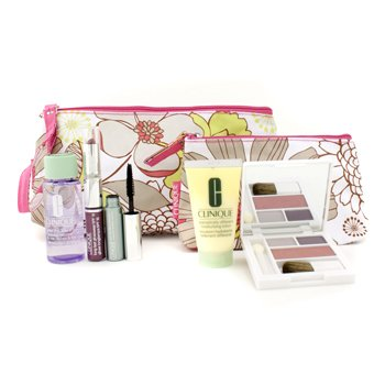Clinique Set Viaje: Desmaquillador 50ml + DDML 30ml + Mascara + Sombra Ojos Duo+ Gloss Labial #18 + 2 Neceseres  5pcs+2bags