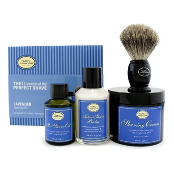 The Art Of Shaving The 4 Elements Afeitado Perfecto - Lavanda ( Embalaje Nuevo ) (Aceite Pre Afeitado + Crema Afeitado + B�lsamo A/S + Brocha )  4pcs