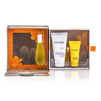 DecleorAromessence Angelique: Aroma Confort + Soro Hidratante + Creme Nutriboost Soft + Tan Activator Serum + Caixa 4pcs+1box