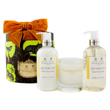 Penhaligon's Quercus Home Collection: Hand Wash 300ml/10.1oz + Hand & Nail Lotion 300ml/10.1oz + Classic Candle 140g/4.9oz  3pcs