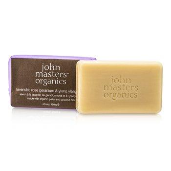 John Masters Organics Jab�n de Lavanda, Rosa Geranio y Ylang Ylang  128g/4.5oz